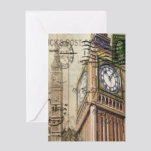 vintage london big ben Greeting Cards