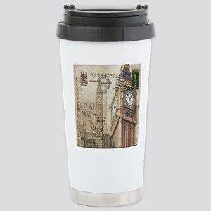 vintage london big ben Stainless Steel Travel Mug
