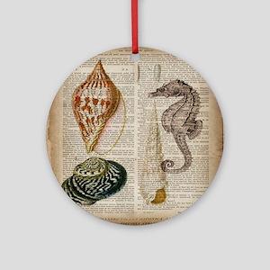 coastal beach sea shells Round Ornament