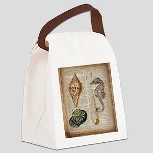 coastal beach sea shells Canvas Lunch Bag