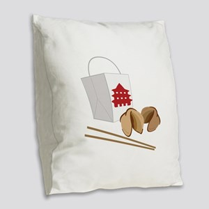 Chinese Take Out Burlap Throw Pillow