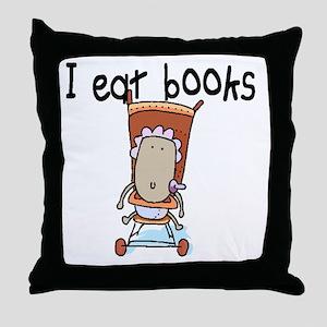 I EAT BOOKS Throw Pillow