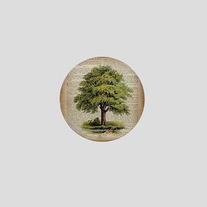 vintage oak tree Mini Button
