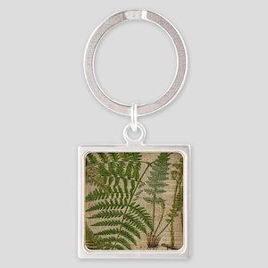botanical fern leaves Square Keychain