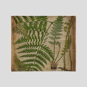 botanical fern leaves Throw Blanket