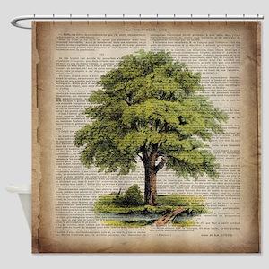 vintage oak tree Shower Curtain