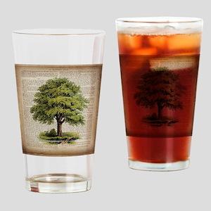 vintage oak tree Drinking Glass