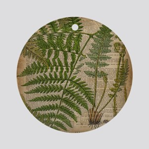 botanical fern leaves Round Ornament