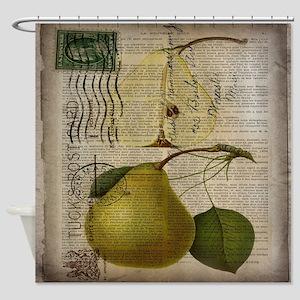 botanical vintage pear  Shower Curtain
