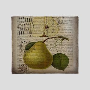 botanical vintage pear  Throw Blanket