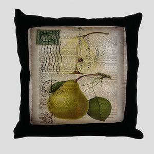 botanical vintage pear  Throw Pillow