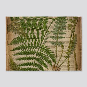 botanical fern leaves 5'x7'Area Rug