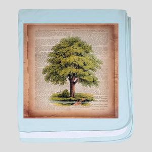 vintage oak tree baby blanket