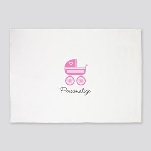 Personalized baby carriage 5'x7'Area Rug
