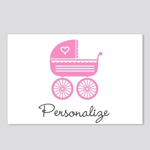 Personalized baby carriage Postcards (Package of 8