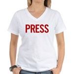 Press (red) Women's V-Neck T-Shirt