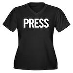 Press (white) Women's Plus Size V-Neck Dark T-Shir