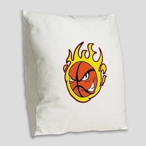 FLAMING BASKETBALL Burlap Throw Pillow