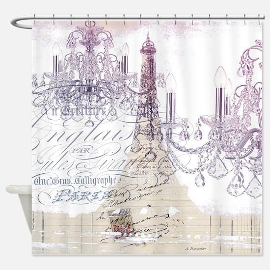 champagne chandelier eiffel tower Shower Curtain