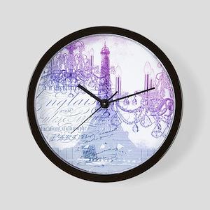 purple chandelier paris eiffel tower Wall Clock