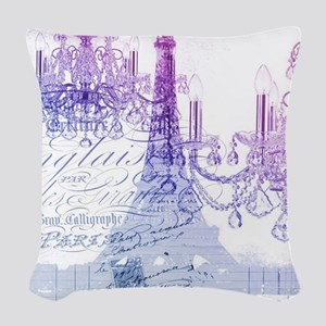 purple chandelier paris eiffel Woven Throw Pillow