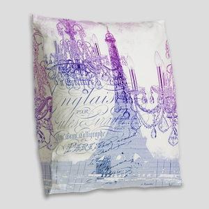 purple chandelier paris eiffel Burlap Throw Pillow