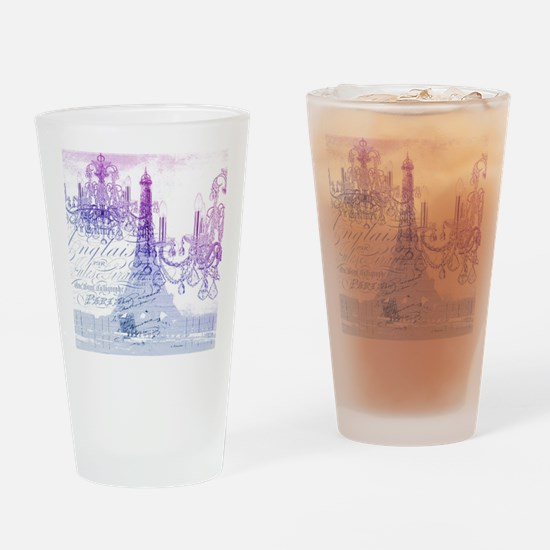 purple chandelier paris eiffel towe Drinking Glass