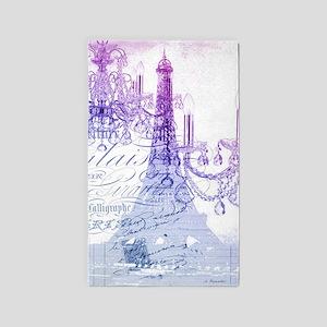purple chandelier paris eiffel tower Area Rug
