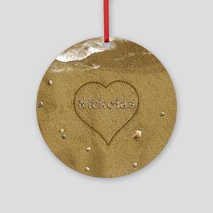 Nickolas Beach Love Ornament (Round)