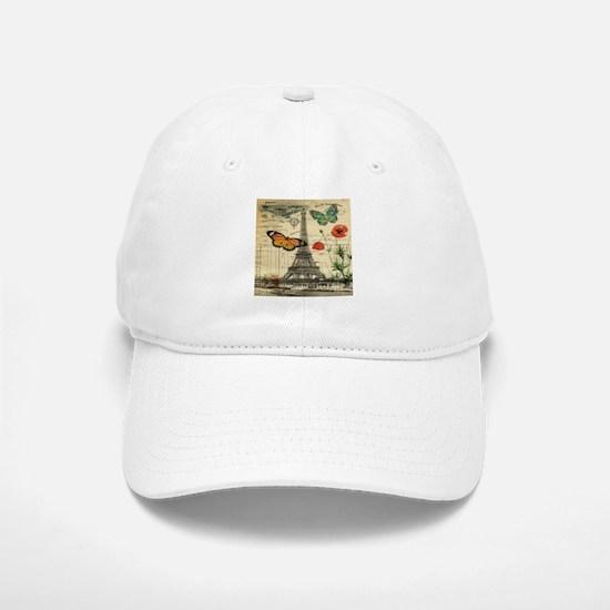 poppy butterfly eiffel tower Baseball Baseball Cap