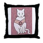 Rose Cat Throw Pillow