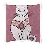 Rose Cat Woven Throw Pillow