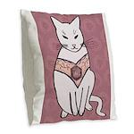 Rose Cat Burlap Throw Pillow