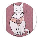 Rose Cat Round Car Magnet