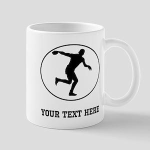 Discus Throw Silhouette Oval (Custom) Mugs