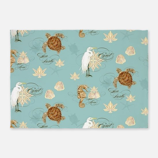 Beach Egret Sea Turtle Sea horse Sh 5'x7'Area Rug