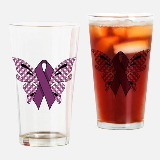 PURPLE RIBBON Drinking Glass