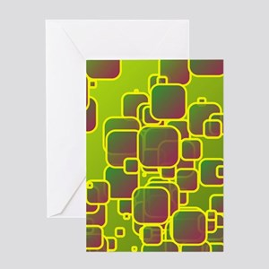 Olive green squares Greeting Cards