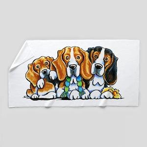 3 Beagles Beach Towel