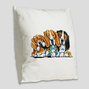 3 Beagles Burlap Throw Pillow