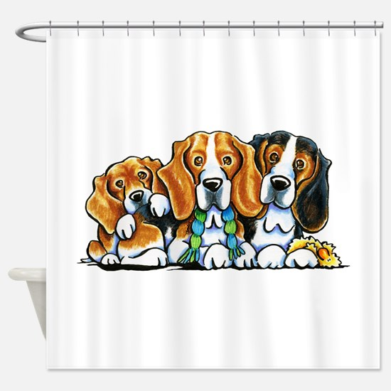 3 Beagles Shower Curtain