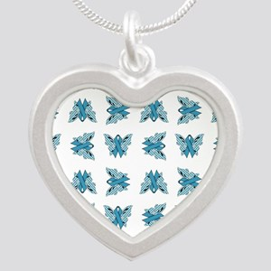 NEON BLUE RIBBON Silver Heart Necklace
