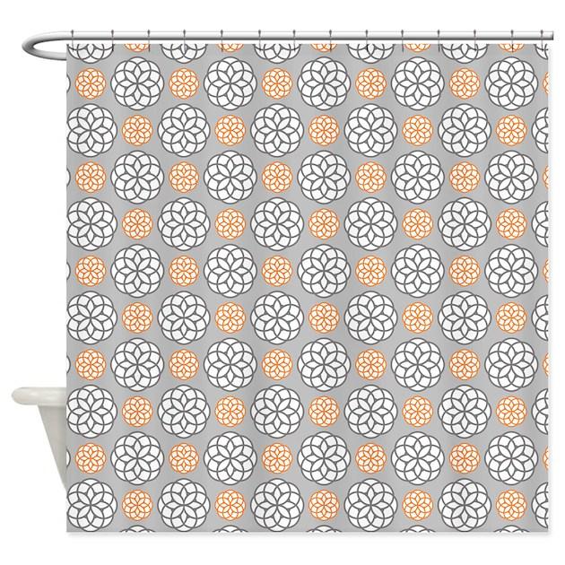 Geometric Circles Orange & Gray Shower Curtain by Admin_CP117476900