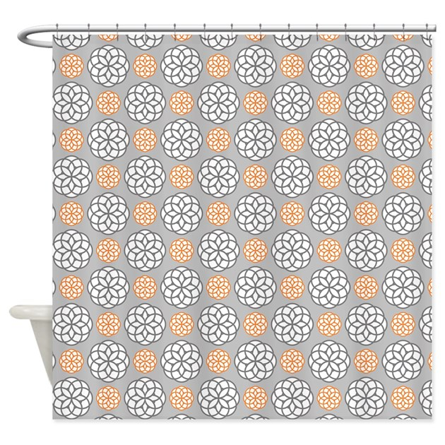 Geometric Circles Orange Gray Shower Curtain By Admincp117476900
