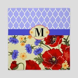 Quatrefoil Poppies Monogram Queen Duvet