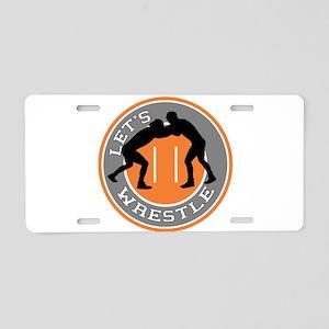 Let's Wrestle Aluminum License Plate