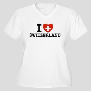 I Love Switzerland Women's Plus Size V-Neck T-Shir