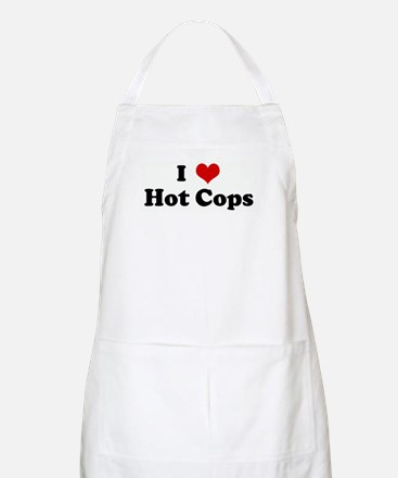 I Love Hot Cops BBQ Apron
