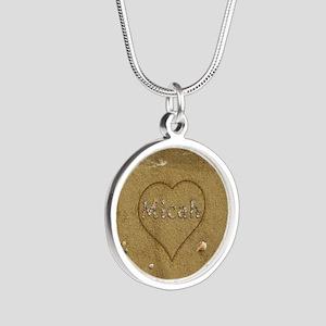 Micah Beach Love Silver Round Necklace