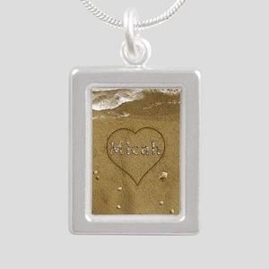 Micah Beach Love Silver Portrait Necklace
